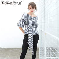 TWOTWINSTYLE Striped Kimono Top Female Blouse Women S Shirt Lantern Sleeve Lace Up Off Shoulder Sexy