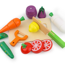 New Children Gift Paste Cut Fruits and Vegetables Honestly See Boys Girls Play House Wooden Toys Creative Childrens