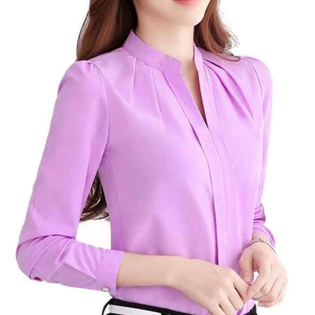 women chiffon office blouse elegant fashion ol work shirts