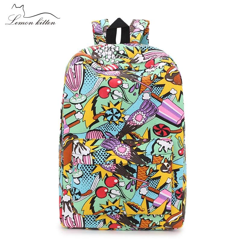 2019 Female Backpack Cartoon Street Graffiti Canvas Backpack Girl Female Best Travel Bag Women Backpack Mochila Rucksack Bagpack #3