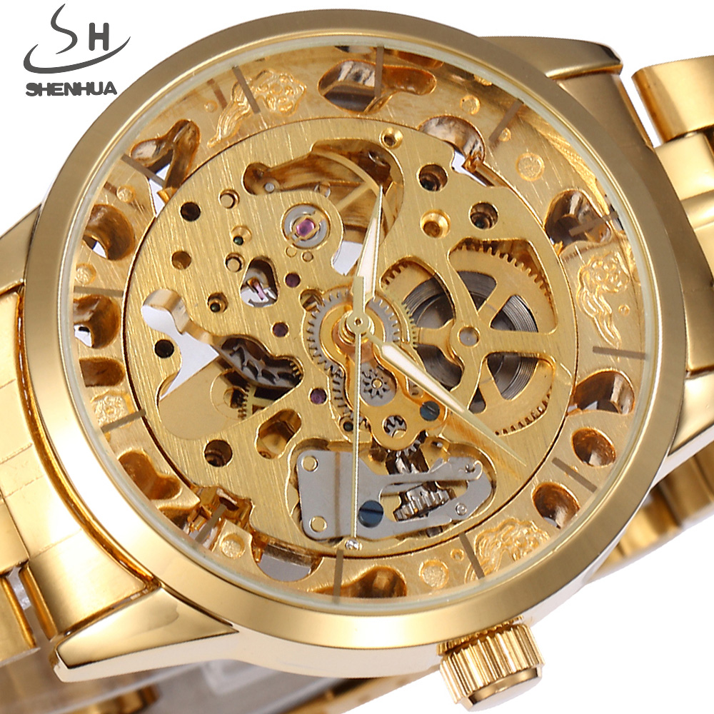 Automatic Mechanical Watch Men Gold SHENHUA Luxury Brand Clock Stainless Steel Men Skeleton Watches Fashion Relogio Masculino shenhua brand black dial skeleton mechanical watch stainless steel strap male fashion clock automatic self wind wrist watches