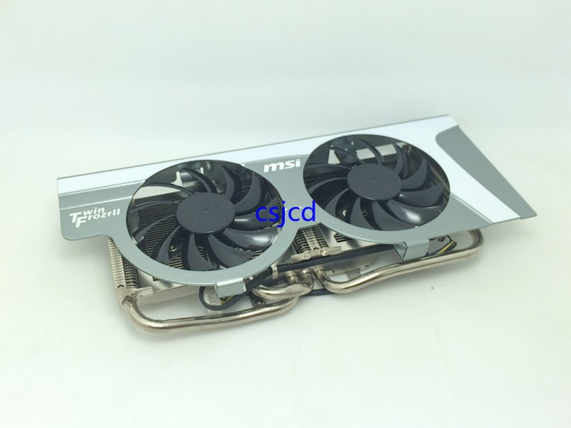 New Original MSI HD6850 HD6870 R6790 570GTX R6850 N460GTX graphics card dual fan radiator heat pipe radiator PLD08010S12HH qqv6 aluminum alloy 11 blade cooling fan for graphics card silver 12cm