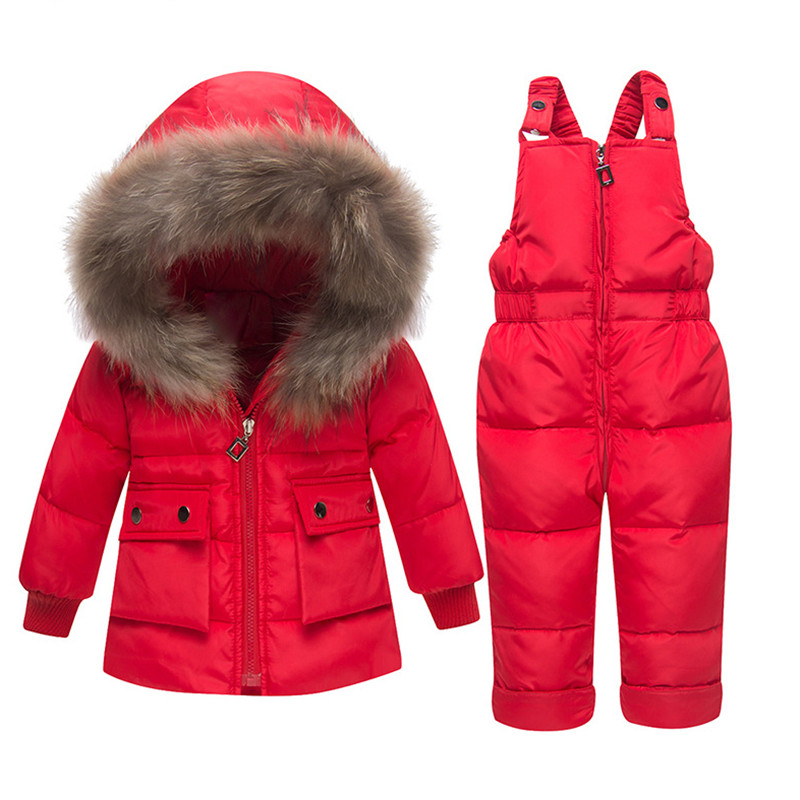 Winter Warm Girls Clothing Sets Detachable Hooded Down Jacket Outerwear Coat+Suspender Jumpsuit 2pc Suits Girls Clothes 1-3Years цена 2017