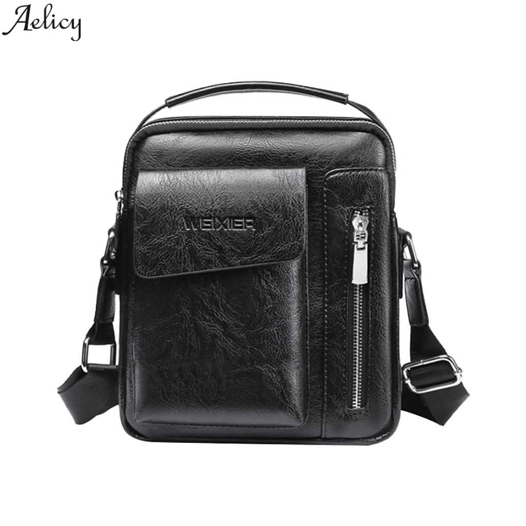 Aelicy Leather Crossbody Bag Casual Men Shoulder Bags Vintage Mens Luxury PU Men Outdoor Travel School Retro Zipper Shoulder Bag