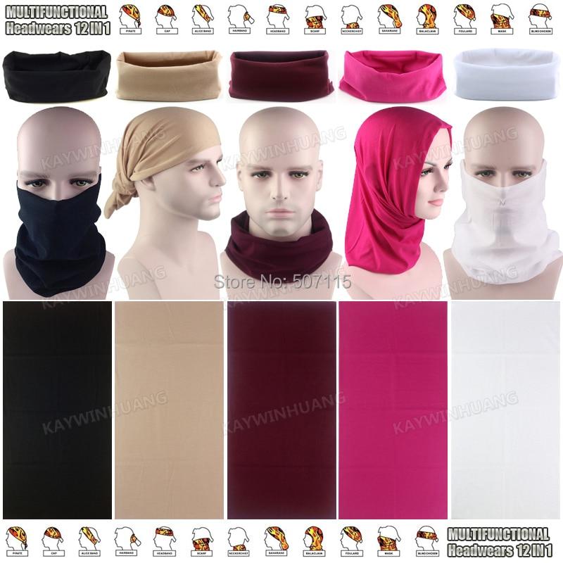 10 pcs Vários Estilo Moda 12 em 1 Multifunções Microfibra Sem Costura Bandana  Bandana Sólida Esportes Headwears 728784a8b704