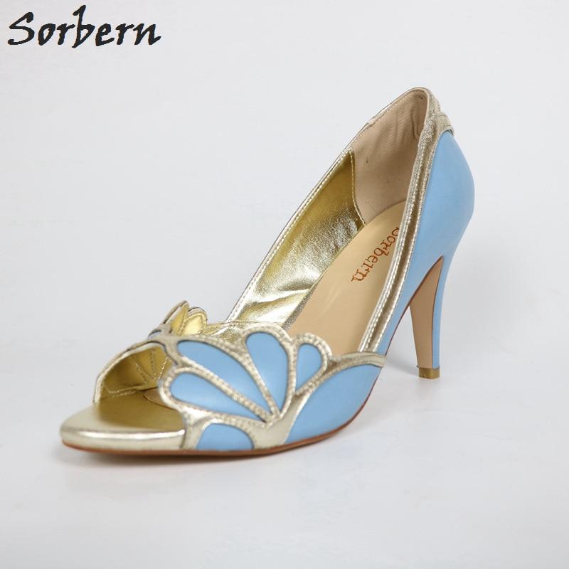 Robe Pompes Or De Pompe Lumière Bleu Mariée Vintage Sorbern Feminino Talons Mariage Femmes Sapatos Chaussures dqWdtY