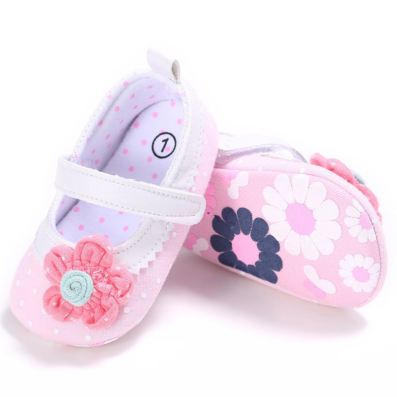 Spring Summer Baby Girls princess Shoes Casual Infants Newborn Girl Polka Dot Flower Lovely Shoes For 0-18 Month baby