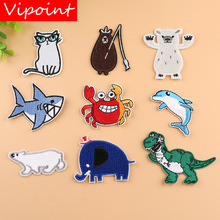VIPOINT embroidery fish bear patches crab cats badges applique for clothing YX-46