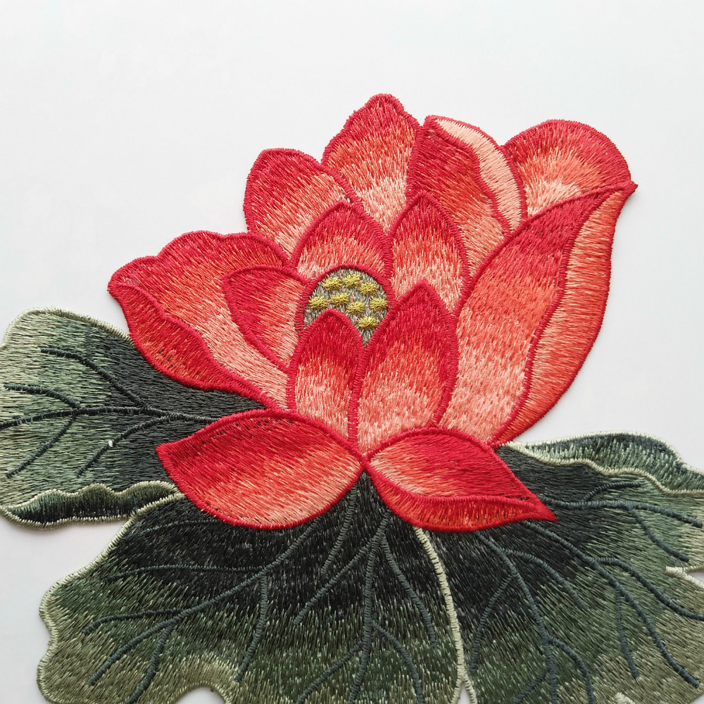 Aliexpress buy 1pc blooming lotus big applique embroidered sew aliexpress buy 1pc blooming lotus big applique embroidered sew on patches flower sticker craft repair diy home decoration high quality from reliable izmirmasajfo