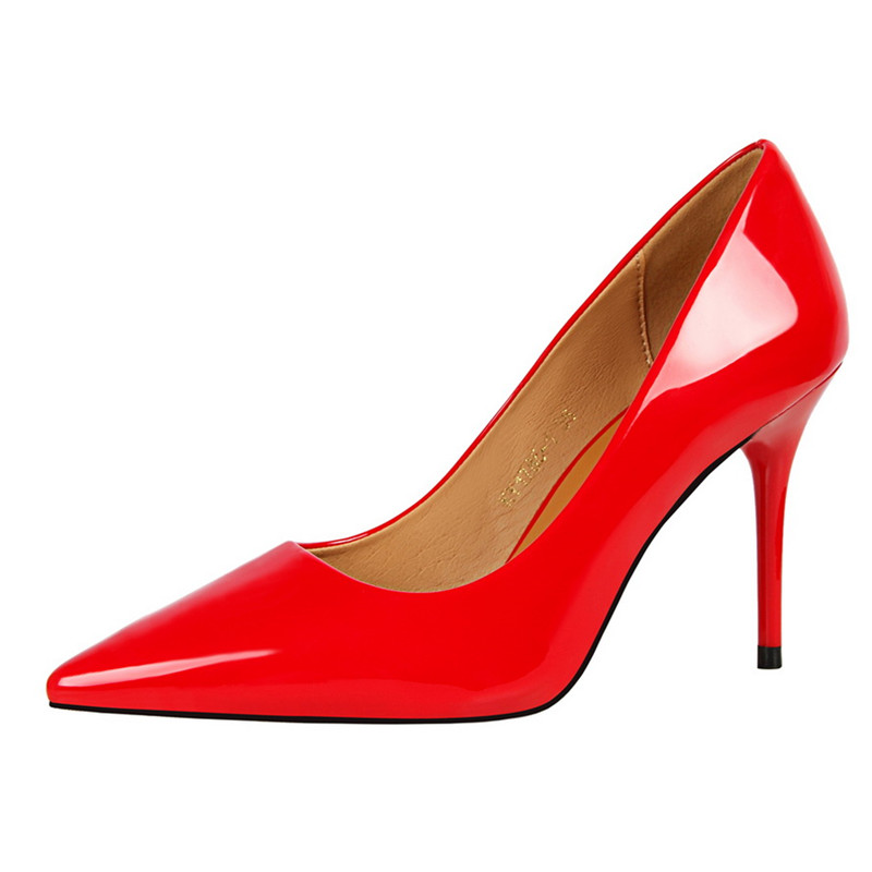ff23740d9eb6  D Henlu  2018 New Basic Women Pumps Sexy Pointed Toe Thin Heel High Heels  Glossi Shoes Glitter stiletto Heels Brand Women Shoes-in Women s Pumps from  Shoes ...