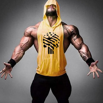 Brand Gym Clothing Fitness Men Cotton Tanktop with hooded Mens Bodybuilding Stringers Tank Tops workout Singlet Sleeveless Shirt 29
