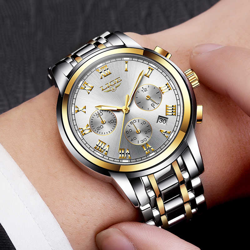 Relojes LIGE para hombre, marca de lujo, reloj de cuarzo deportivo a prueba de agua, reloj de fecha para hombre, reloj cronógrafo, reloj Masculino