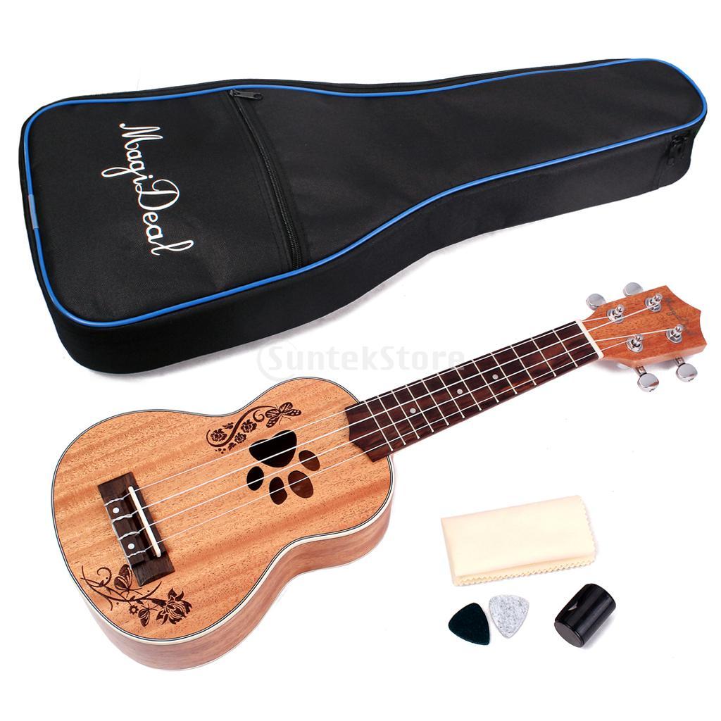 MagiDeal 21' Mahogany Soprano Ukulele Uke Hawaiian Guitar with Gig Bag 21 soprano ukulele ukulele gig bag case 600d water resistant nylon hand strap 20 12