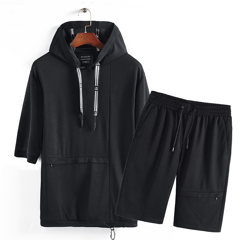 Hoodies Sportsuits Tracksuit Male Hoody streetwear hip hop clothes Hoodies Men Pullovers+shorts Loose Half sleeve Casual Summer