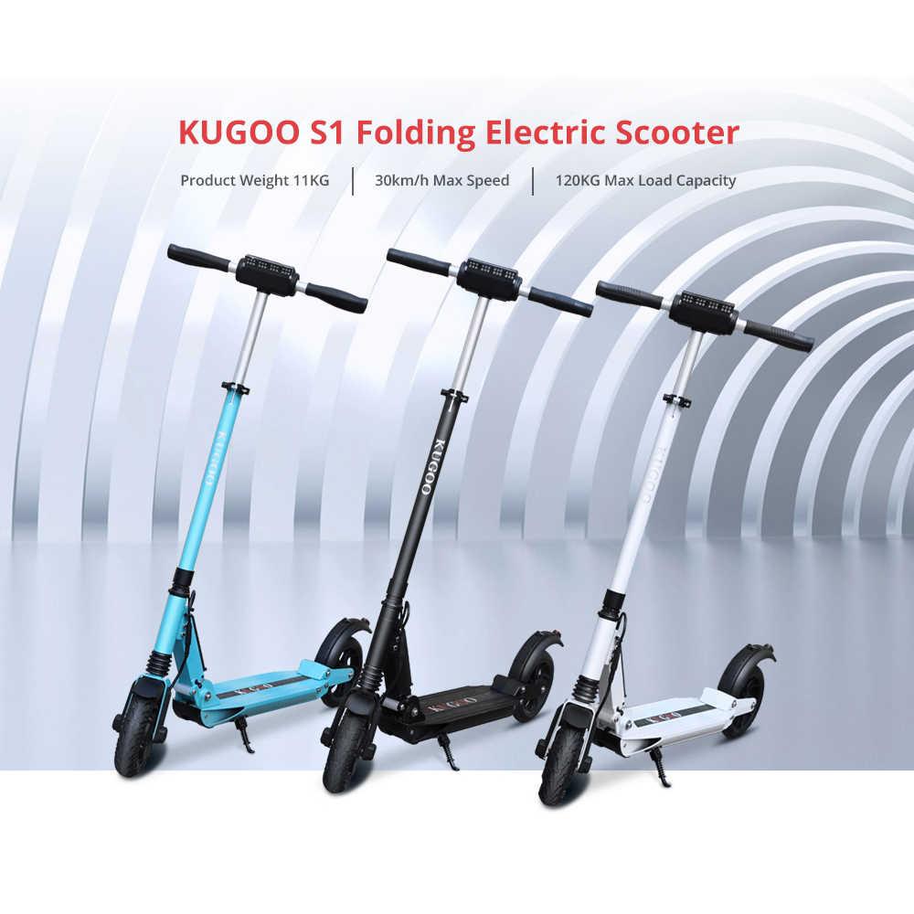 [Polen Voorraad] Kugoo S1 Opvouwbare Elektrische Scooter 3 Speed Modi 350W Motor Lcd-scherm 8.5 Inch effen Achter Anti-Slip Band