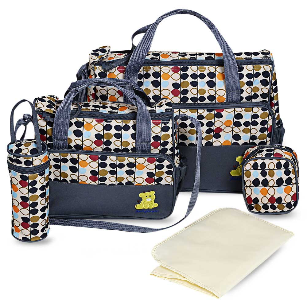 5pcs Infant Baby Diaper Bag Suits For Mom Baby Bottle Holder Fashion Handbag Mother Stroller Maternity Bag Mummy Nappy Bags Sets