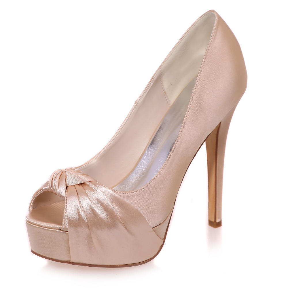 Popular Satin Peep Toe Platform High Heel with Bow-Buy Cheap Satin ...