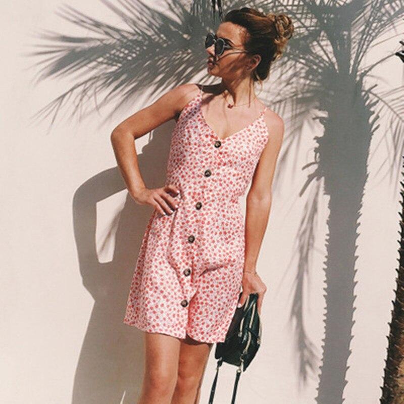 Summer V-neck Women Beach Dress Bohemian High Waist Print Mini Vestidos Sleeveless A-Line Mini Dress
