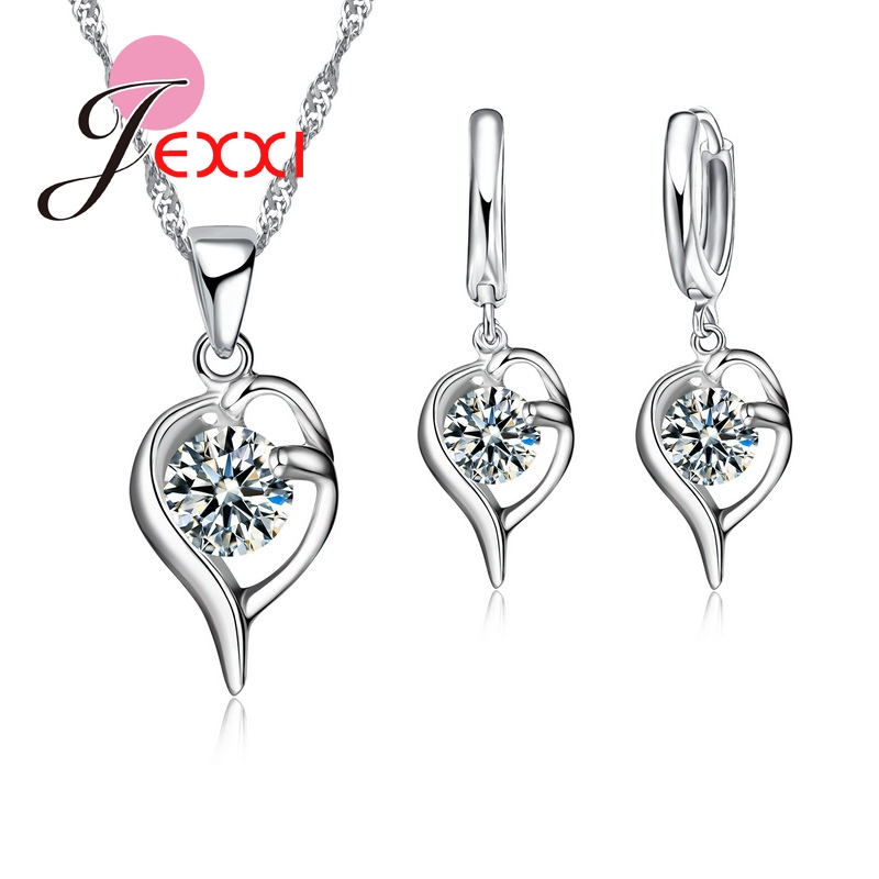 PATICO Fantastic Womens/Girls Jewelry Sets 925 Sterling Sliver Filled Noble Austrian Crystal Jewelry Sets Wedding Gifts