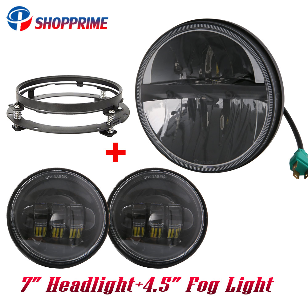 For Harley Davidson 7 Led Projector Daymaker Headlight + 4 .5'' Passing Light For Harley Touring Electra Glide Black 7 inch led 5 75 5 3 4 chrome headlight housing bucket for harley electra glide bad boy