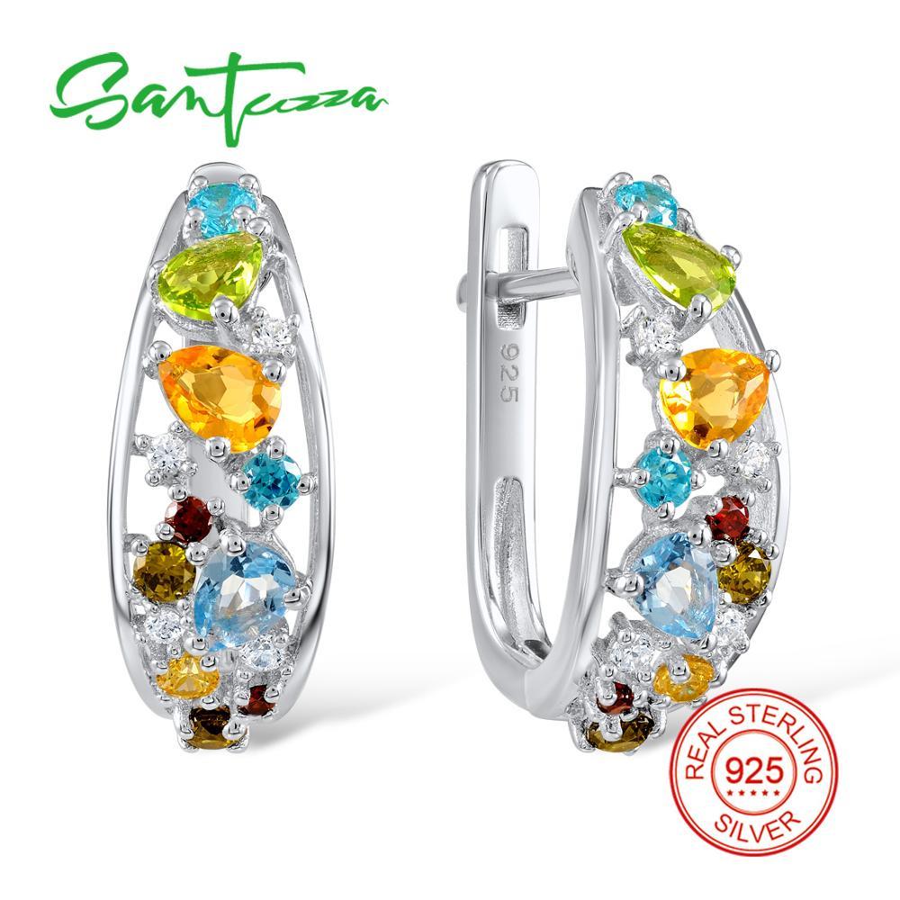 Silver Stud Earrings for Women Natural Stones Garnet Peridot Earrings Solid 925 Sterling Silver Earrings