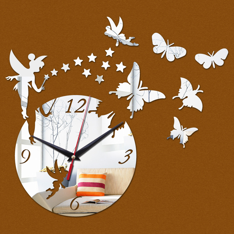 new arrival 2016 direct selling mirror sun Acrylic wall clocks 3d home decor diy crystal Quartz clock art watch free shipping in Wall Clocks from Home Garden