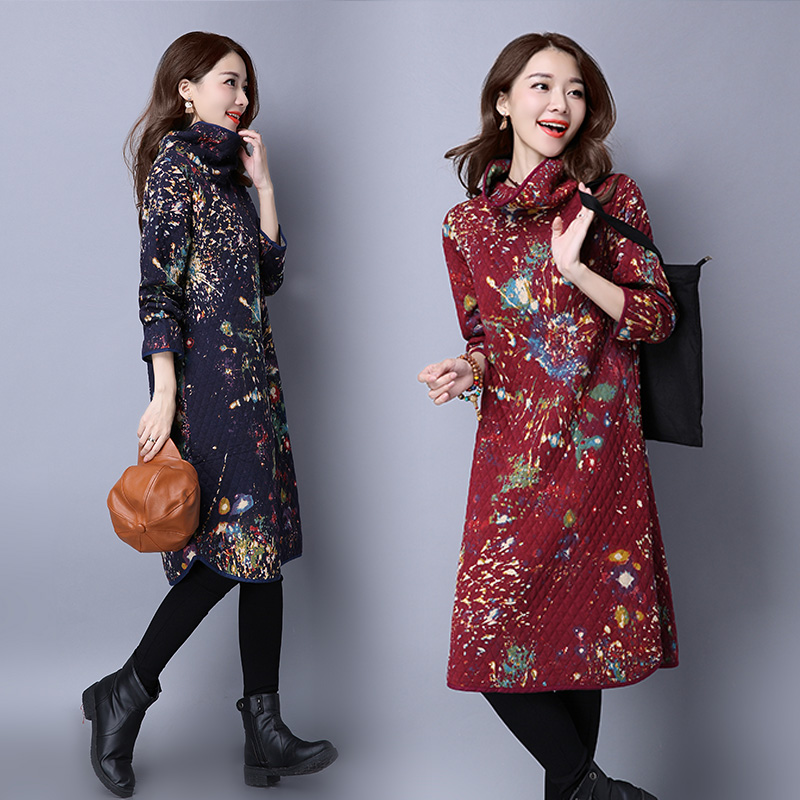 Winter Autumn Dresses Women 2016 Cotton Quilted Turtleneck Sleeve Head Long Lingge Printing Ink China Casual