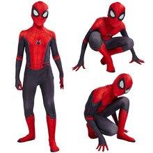 Новые детские для мальчиков, костюм для мальчиков и девочек «Человек-паук»: далеко от дома Питер Паркер костюм зентай для косплея Детская футболка с рисунком Человека-паука и боди; трико;