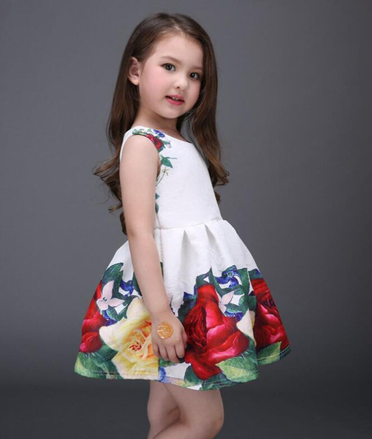 2017 new summer girls dress white designer brand new children clothing rose flower princess wedding party Lace girl clothes 3