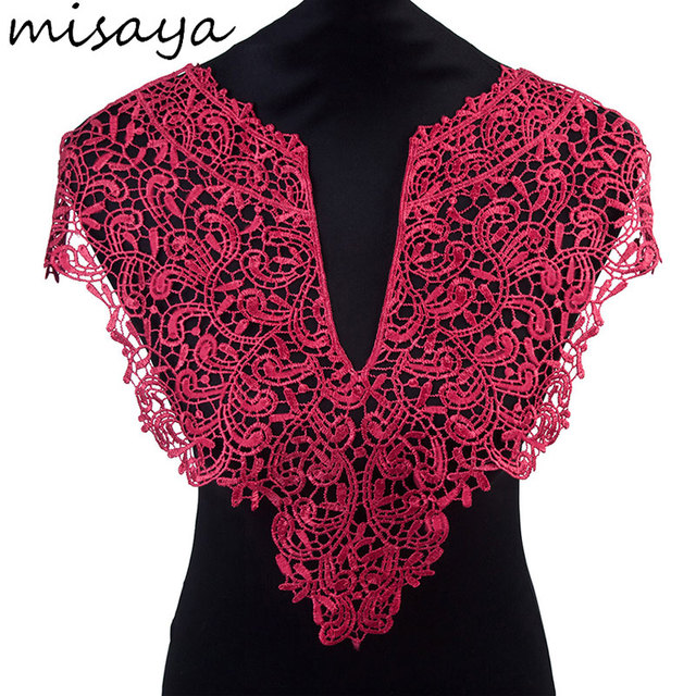 Misaya 1pc Polyester Flower 4 Colors Lace Neckline Fabric Wedding Dress Collar For Sewing