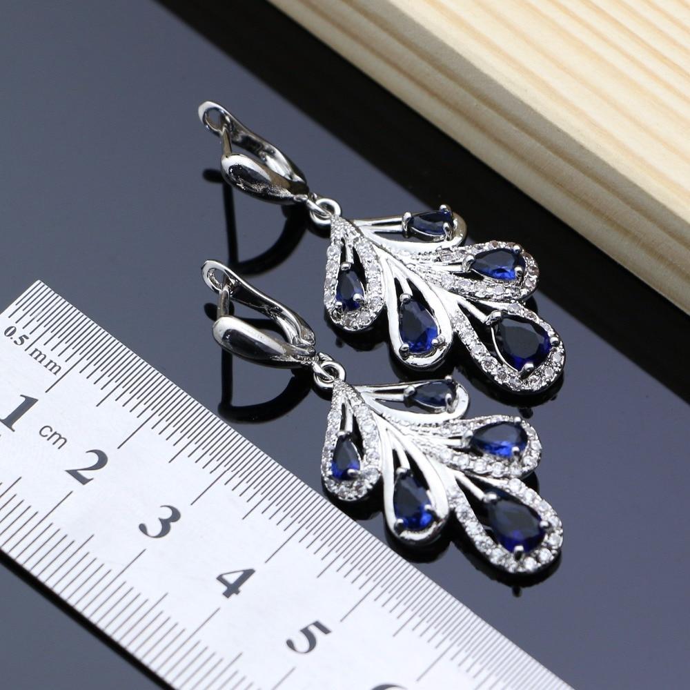 Silver 925 Jewelry Set Blue Zircon White Crystal Costume For Women Stones Leaves Earrings Rings Bracelet Necklace Set