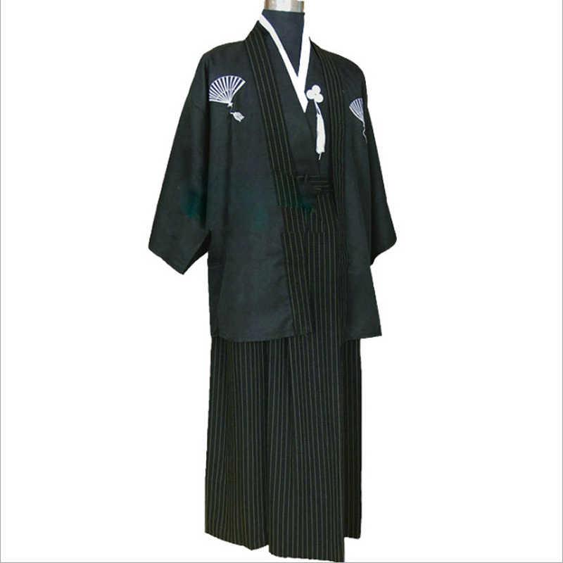 Vêtement Cosplay noir homme traditionnel 3 PC japonais Haori KimonoYukata Costume dramaturgique vêtements taille unique