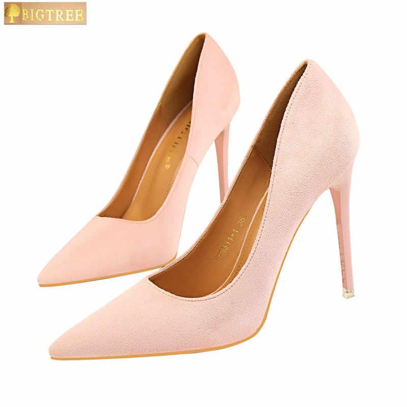 5 Warna Ringkas Wanita Kantor Sepatu 2018 Baru Acara Tipis Wanita Pumps Solid Flock Menunjuk Toe Dangkal Fashion sepatu Hak Tinggi