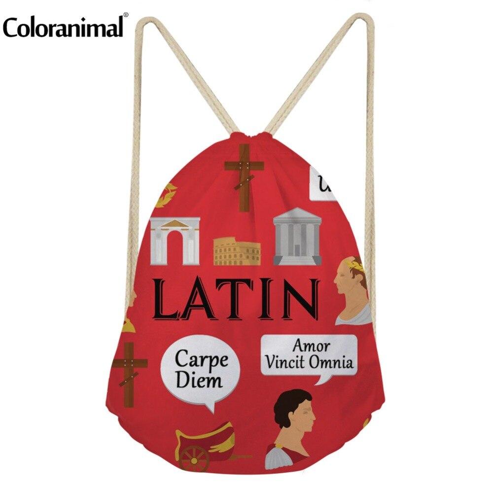 Coloranimal Portuguese/Russian /Latin Language 3D Print Bagpack For Men Women Drawstring BackpackFashion Portable Storage Pouch