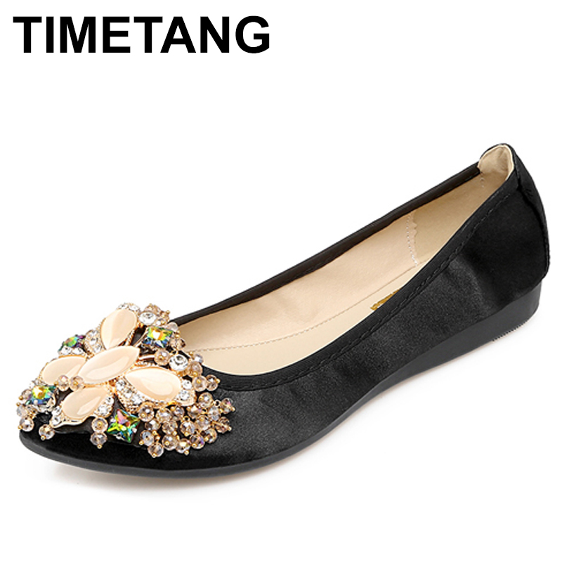TIMETANG 2018 Women Crystal Flat Ballet Shoes Fashion Casual Shoes for Women Pointed Toe Soft Woman Rhinestone Pregnant C339 fashion pointed toe women shoes solid patent pu brand shoes women flats summer style ballet princess shoes for casual crystal