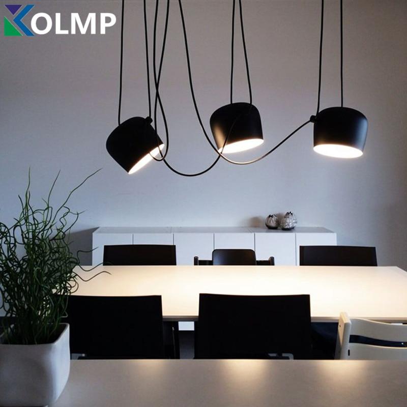ФОТО Bongos Cafe Bar Restaurant chandelier modern showcase lighting shade black/white AC110-240 Black/White Aluminum DIY luminaire