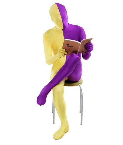 Costume de seconde peau en Lycra jaune et violet