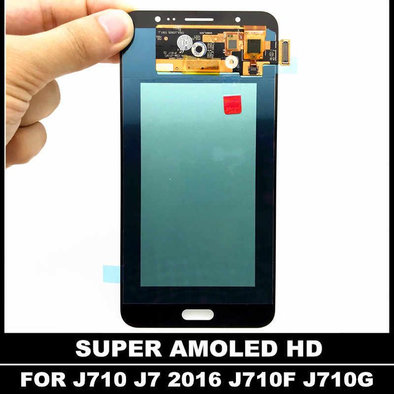 AMOLED จอ Lcd สำหรับ Samsung Galaxy J7 2016 J710 J710FN J710F จอแสดงผล LCD Touch Digitizer หน้าจอปรับความสว่าง