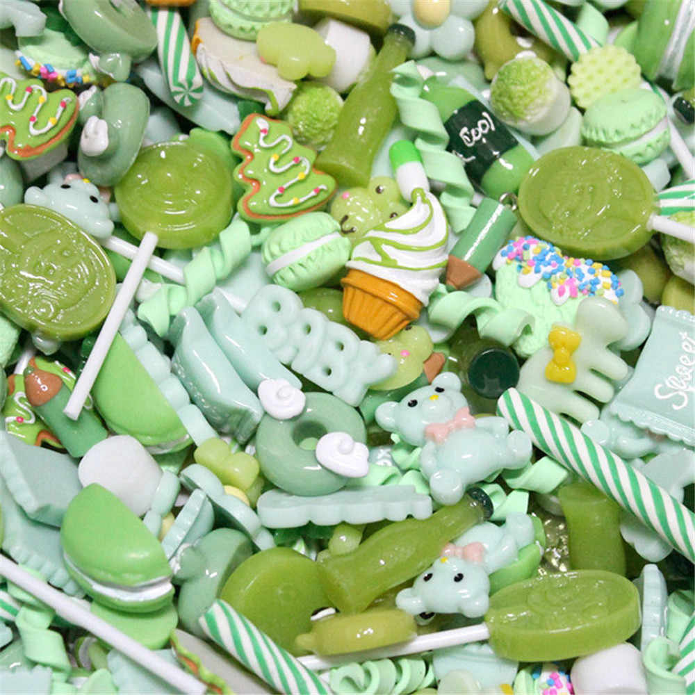 10Pcs di Riempimento per slime Aggiunta cassa del telefono della decorazione In Miniatura In Resina Torta di Frutta Della Caramella di cioccolato FAI DA TE Lizun Slime accessori