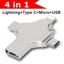 Накопитель для передачи данных iphone 32 Гб 64Гб. 128 ГБ 256 ГБ 4 в 1 Многофункциональный USB 3,0 для телефонов iphone iOS type C Android