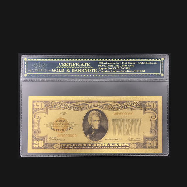 Best Price 1928 Year American Color Gold Banknote 20 Dollar Plated World Currency Bill Note Fake Money With Plastic Case