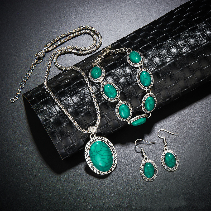 Vintage Antique Silver Oval Necklace Bracelet Earring Charm Pendant Dangle Jewelry Set for Women Shellhard Jewellery female gift
