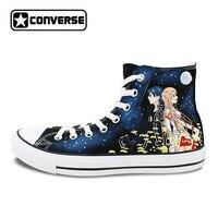 Anime Shoes Men Converse Women Hand Painted Canvas Sneakers Sword Art Online Design Custom Skateboarding Shoes