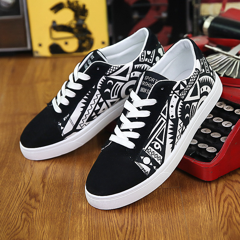 2017 fashion printed flats new lace up casual