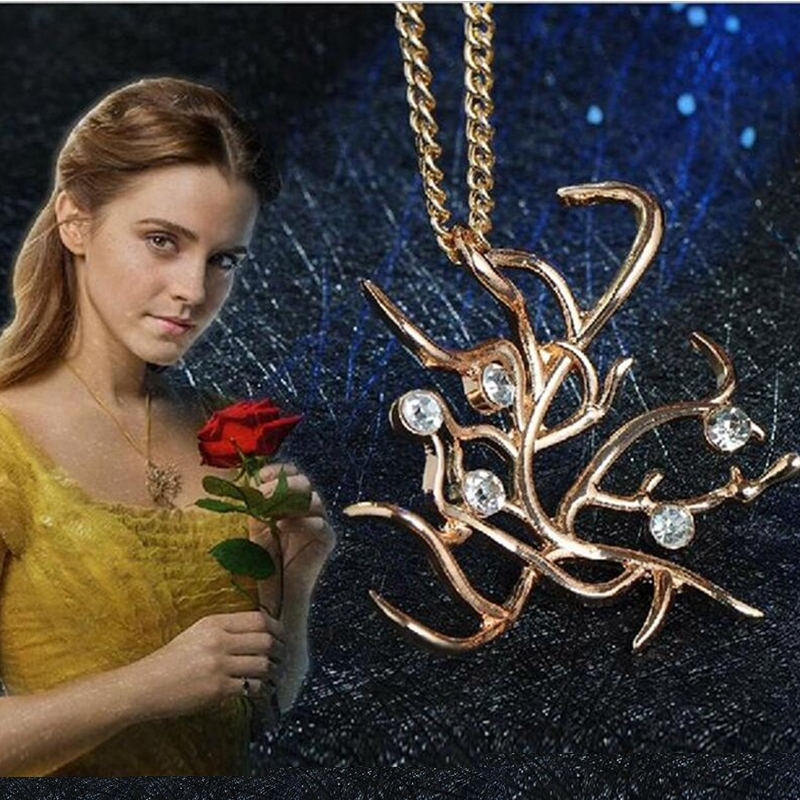 Movie Beauty and the Beast Belle Cosplay Gold Rose Tree Necklaces Pendants Props Accessories Party Halloween jewelry Collectible