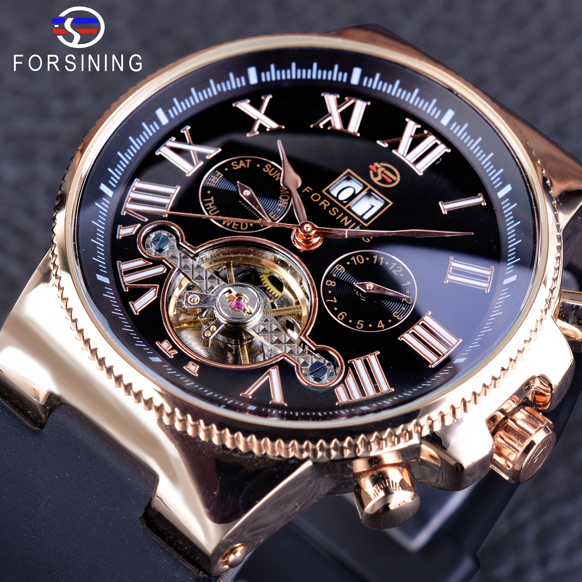 Forsining Luminous Roman Number Calendar Weekend Month Display Tourbillion Men s Mechanical Watch Automatic Skeleton Wristwatch