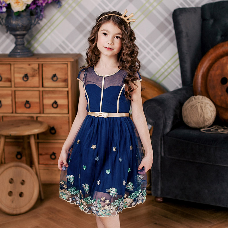 Childdkivy Girls Floral Embroidery Dress 2018 Summer Kids Tulle Dresses for Girls 3-10T Baby Girls Princess Dress Party Clothes gumprun girls summer dress vestidos floral embroidery princess dress children clothing knee length party dresses kids clothes