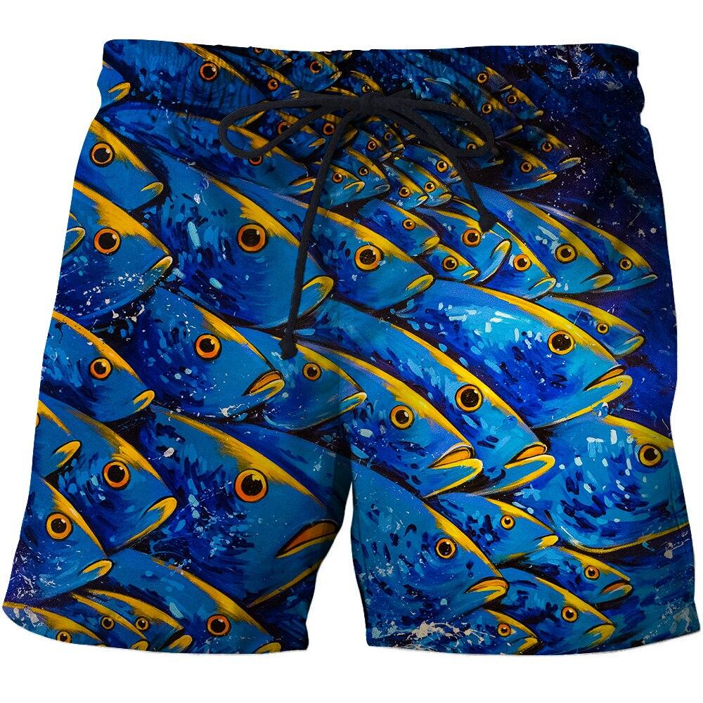 3D Full Fish Beach Pants Men's Men's Wear Streetwear Hip-hop Bottoms Fashion Pants Shorts Jeans Men Pants Male Chauvinist Shorts