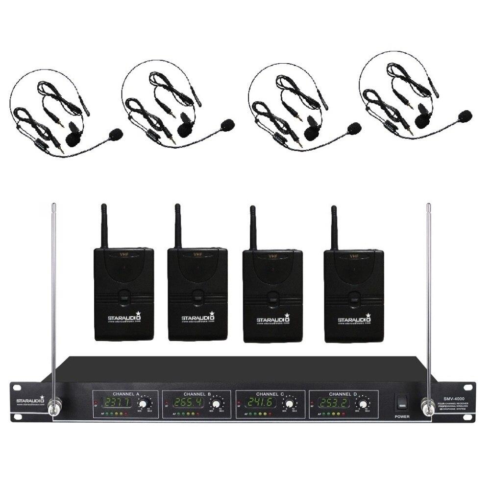 STARAUDIO SMV-4000B Professional DJ Stage Church Party VHF Wireless 4CH Lavalier Headset Microphone Mic System
