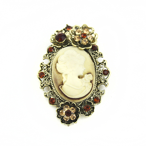 Gold silver plated Large Cameo brooch pins brooches women rhinestones vintage resin flower crystal boha02 - Vulcan Smith Co & Factory store
